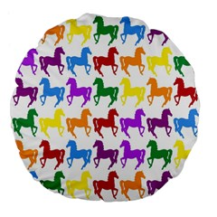 Colorful Horse Background Wallpaper Large 18  Premium Flano Round Cushions