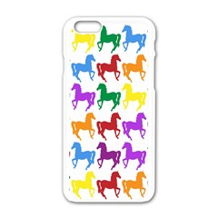Colorful Horse Background Wallpaper Apple Iphone 6/6s White Enamel Case