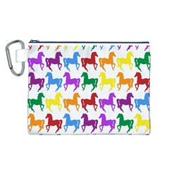 Colorful Horse Background Wallpaper Canvas Cosmetic Bag (l)
