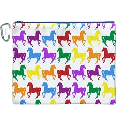 Colorful Horse Background Wallpaper Canvas Cosmetic Bag (xxxl)