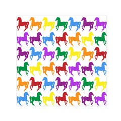 Colorful Horse Background Wallpaper Small Satin Scarf (Square)