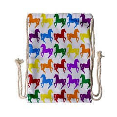 Colorful Horse Background Wallpaper Drawstring Bag (small)