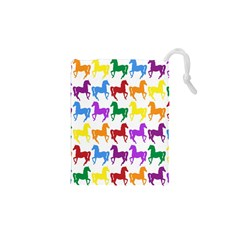 Colorful Horse Background Wallpaper Drawstring Pouches (xs)