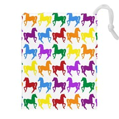 Colorful Horse Background Wallpaper Drawstring Pouches (XXL)