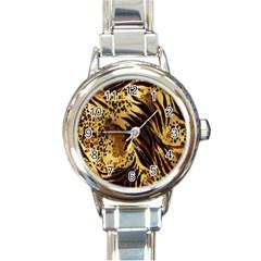 Stripes Tiger Pattern Safari Animal Print Round Italian Charm Watch