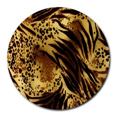 Stripes Tiger Pattern Safari Animal Print Round Mousepads