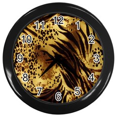 Stripes Tiger Pattern Safari Animal Print Wall Clocks (Black)
