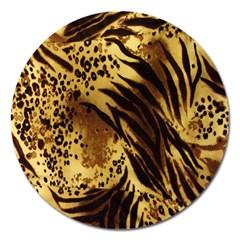 Stripes Tiger Pattern Safari Animal Print Magnet 5  (round)