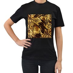 Stripes Tiger Pattern Safari Animal Print Women s T-Shirt (Black) (Two Sided)