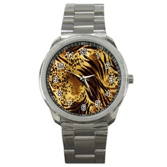 Stripes Tiger Pattern Safari Animal Print Sport Metal Watch