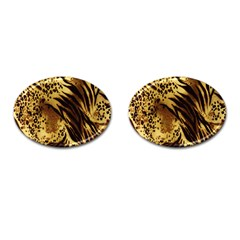 Stripes Tiger Pattern Safari Animal Print Cufflinks (oval)