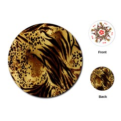 Stripes Tiger Pattern Safari Animal Print Playing Cards (round)