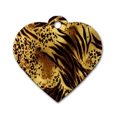 Stripes Tiger Pattern Safari Animal Print Dog Tag Heart (one Side)