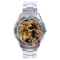 Stripes Tiger Pattern Safari Animal Print Stainless Steel Analogue Watch