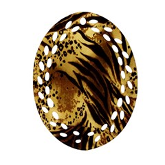 Stripes Tiger Pattern Safari Animal Print Oval Filigree Ornament (two Sides)