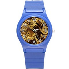 Stripes Tiger Pattern Safari Animal Print Round Plastic Sport Watch (s)