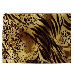 Stripes Tiger Pattern Safari Animal Print Cosmetic Bag (XXL)