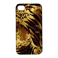 Stripes Tiger Pattern Safari Animal Print Apple iPhone 4/4S Hardshell Case with Stand
