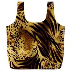 Stripes Tiger Pattern Safari Animal Print Full Print Recycle Bags (l)