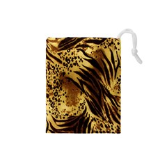 Stripes Tiger Pattern Safari Animal Print Drawstring Pouches (small)