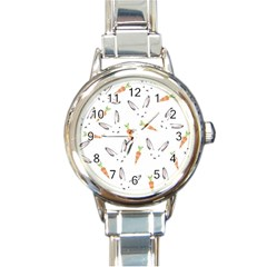 Rabbit Carrot Pattern Weft Step Round Italian Charm Watch