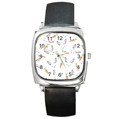 Rabbit Carrot Pattern Weft Step Square Metal Watch