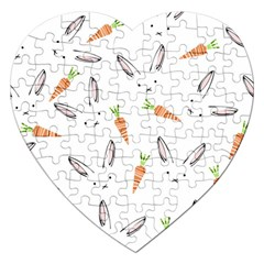 Rabbit Carrot Pattern Weft Step Jigsaw Puzzle (Heart)