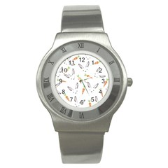 Rabbit Carrot Pattern Weft Step Stainless Steel Watch