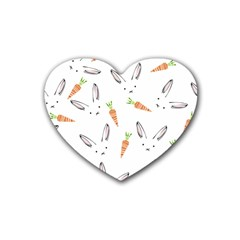 Rabbit Carrot Pattern Weft Step Heart Coaster (4 pack)