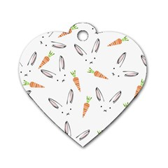Rabbit Carrot Pattern Weft Step Dog Tag Heart (one Side)