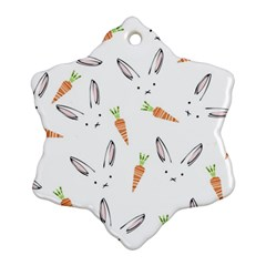 Rabbit Carrot Pattern Weft Step Snowflake Ornament (Two Sides)