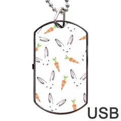 Rabbit Carrot Pattern Weft Step Dog Tag Usb Flash (two Sides)