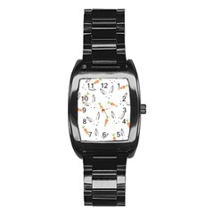 Rabbit Carrot Pattern Weft Step Stainless Steel Barrel Watch