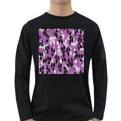 Floral Pattern Background Long Sleeve Dark T Shirts