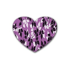 Floral Pattern Background Rubber Coaster (heart)