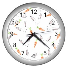 Rabbit Carrot Pattern Weft Step Wall Clocks (Silver)