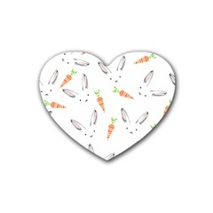 Rabbit Carrot Pattern Weft Step Rubber Coaster (heart)