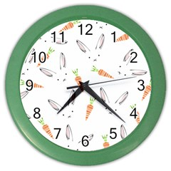Rabbit Carrot Pattern Weft Step Color Wall Clocks