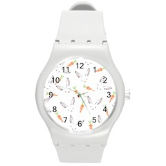Rabbit Carrot Pattern Weft Step Round Plastic Sport Watch (m)