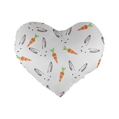 Rabbit Carrot Pattern Weft Step Standard 16  Premium Heart Shape Cushions