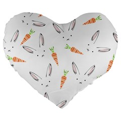 Rabbit Carrot Pattern Weft Step Large 19  Premium Heart Shape Cushions
