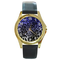 Fabric Animal Motifs Round Gold Metal Watch