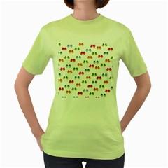 Pattern Birds Cute Design Nature Women s Green T-Shirt