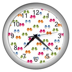 Pattern Birds Cute Design Nature Wall Clocks (silver)