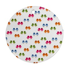 Pattern Birds Cute Design Nature Round Ornament (two Sides)