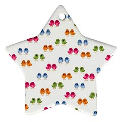 Pattern Birds Cute Design Nature Star Ornament (two Sides)