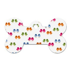 Pattern Birds Cute Design Nature Dog Tag Bone (Two Sides)