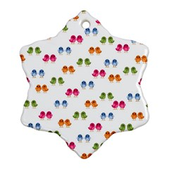 Pattern Birds Cute Design Nature Snowflake Ornament (Two Sides)