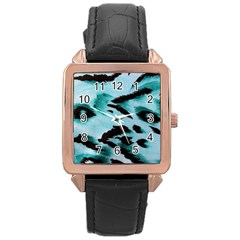 Animal Cruelty Pattern Rose Gold Leather Watch