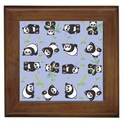 Panda Tile Cute Pattern Blue Framed Tiles